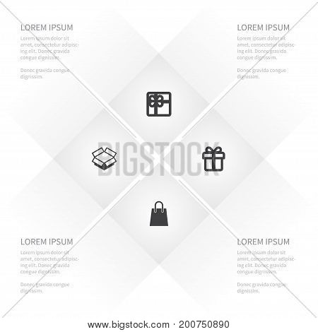 Icon Store Set Of Carton, Giftbox, Surprise And Other Vector Objects