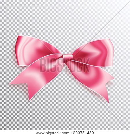 Realistic satin pink bow knot. Vector illustration icon isolated.