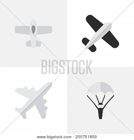 Elements Catapults, Aviation, Plane And Other Synonyms Plane, Catapults And Vehicle.  Vector Illustration Set Of Simple Aircraft Icons.