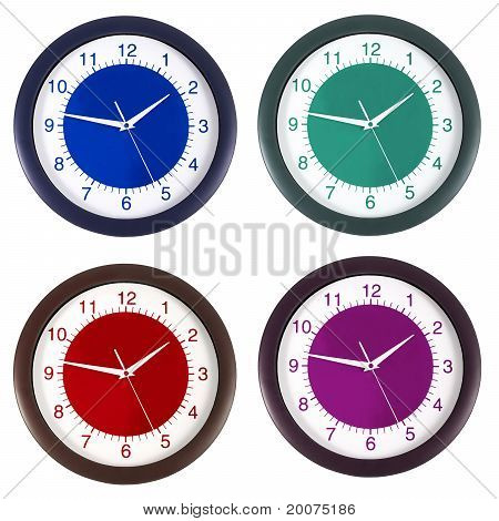clock in four colors