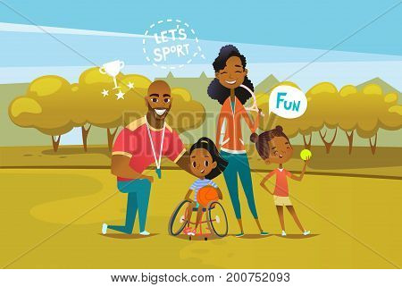 Happy African American family with disabled girl sitting in wheelchair and holding basketball ball. Concept of parents involvement in physical activities of kids with disability. Vector illustration