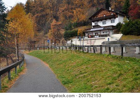 Classic Building And Resort Of Skiparadise Nauders In Bolzano Or Bozen, Italy