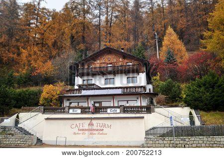 Classic Building And Resort Of Skiparadise Nauders In Bolzano, Italy