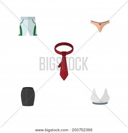 Flat Icon Dress Set Of Cravat, Brasserie, Stylish Apparel And Other Vector Objects