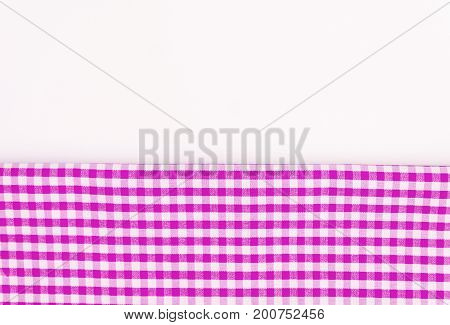 Pink, Purple Fabric, A Kitchen Towel With A Checkered Pattern, O