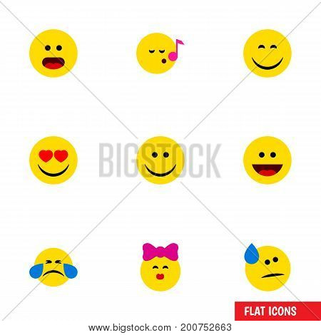 Flat Icon Emoji Set Of Descant, Cold Sweat, Wonder And Other Vector Objects