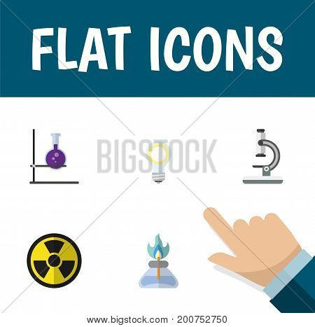 Flat Icon Study Set Of Irradiation, Flask, Flame And Other Vector Objects