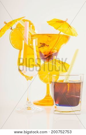 Colorful Cocktail Decorated With Scorpion, Colorful Umbrella, Ice Cubes, Party Night