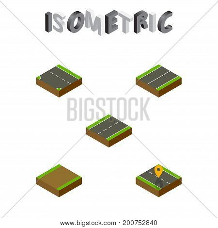 Isometric Road Set Of Footpath, Downward, Plane And Other Vector Objects