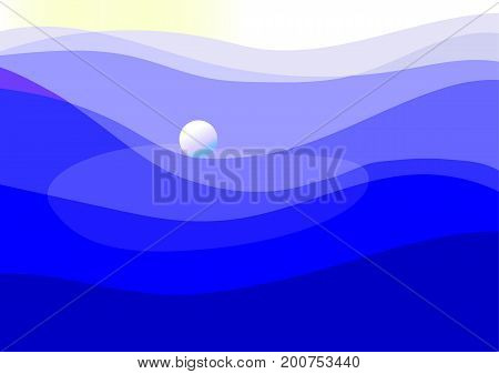 Color abstract template of silhouettes of ball and sea waves on blue background. Place for text. Vector illustration