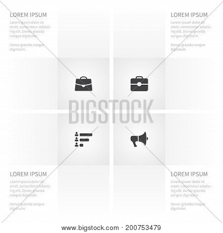Icon Trade Set Of Document Case, Suitcase, Megaphone And Other Vector Objects