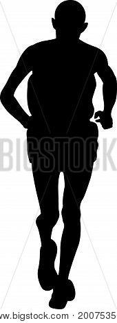 black silhouette of elderly man runner athlete marathon
