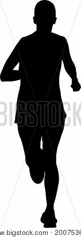 black silhouette running woman athlete marathon race