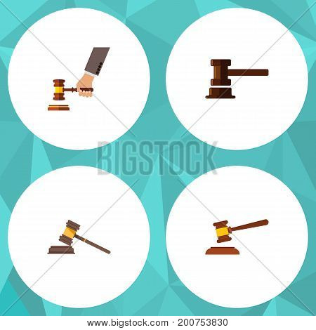 Flat Icon Court Set Of Court, Crime, Government Building And Other Vector Objects
