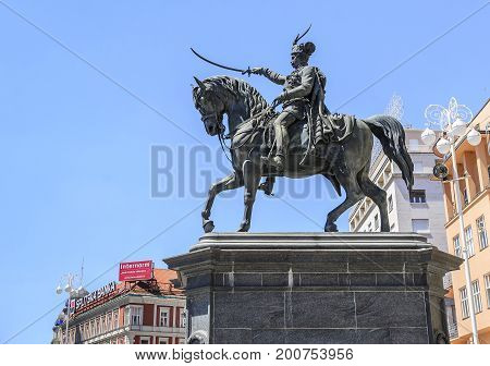 ZAGREB, CROATIA JULY 17, 2017: Monument of Bana Josip Jelacic against the blue skyin Zagreb, Croatia.