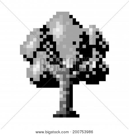 monochrome pixelated tree with ramifications and leaves vector illustration