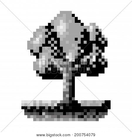 monochrome pixelated tree in meadow with ramifications and leaves vector illustration