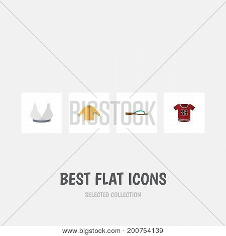 Flat Icon Dress Set Of Brasserie, Banyan, T-Shirt And Other Vector Objects