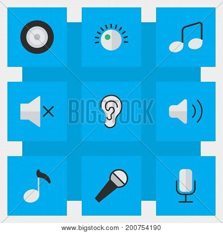 Elements Mike, Volume, Regulator And Other Synonyms Speaker, Ear And Regulator.  Vector Illustration Set Of Simple Sound Icons.