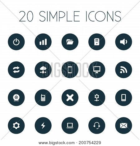 Elements laptop, Gear, Cogwheel And Other Synonyms Delete, Touchscreen And Button.  Vector Illustration Set Of Simple Technology Icons.