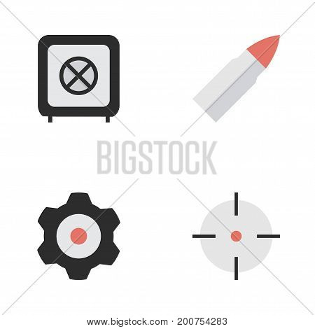 Elements Target, Cogwheel, Shot And Other Synonyms Mechanical, Cogwheel And Target.  Vector Illustration Set Of Simple Crime Icons.