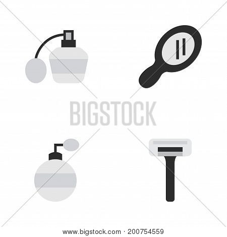 Elements Shaver, Glass, Perfume And Other Synonyms Speculum, Fragrance And Perfume.  Vector Illustration Set Of Simple Hairdresser Icons.
