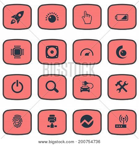 Elements Modem, Finger, Thumbprint And Other Synonyms Magnifier, Speedometer And Battery.  Vector Illustration Set Of Simple Device Icons.