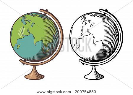 Stylized vector illustration of globe. Outline and colored version