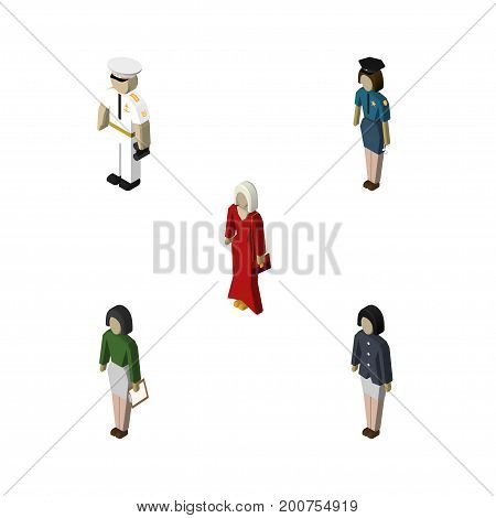 Isometric People Set Of Policewoman, Seaman, Female And Other Vector Objects