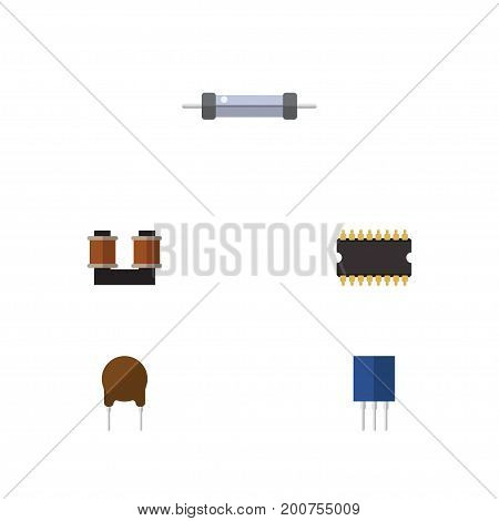 Flat Icon Technology Set Of Resistor, Triode, Coil Copper And Other Vector Objects