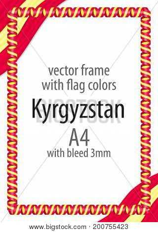 Frame And Border Of Ribbon With The Colors Of The Kyrgyzstan Flag