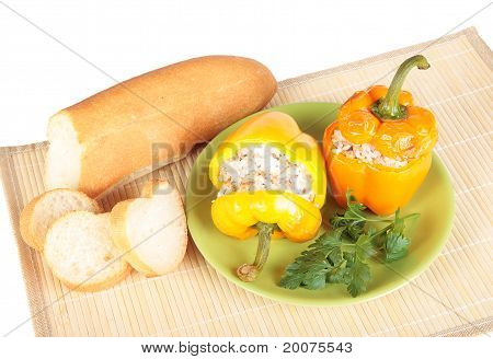 Two Peppers Stuffed With Rice And Meat