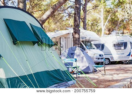 Picture of a tent by the adriatic seashore in Trogir's camping Croatia