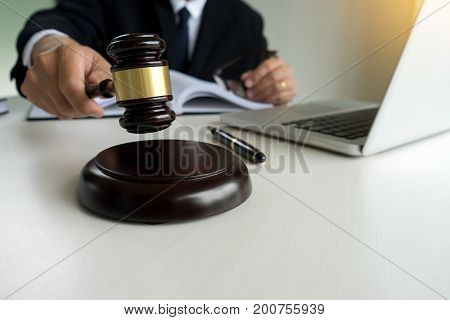 Judge Adjudicate In Courtroom Referee Hammer The Gavel