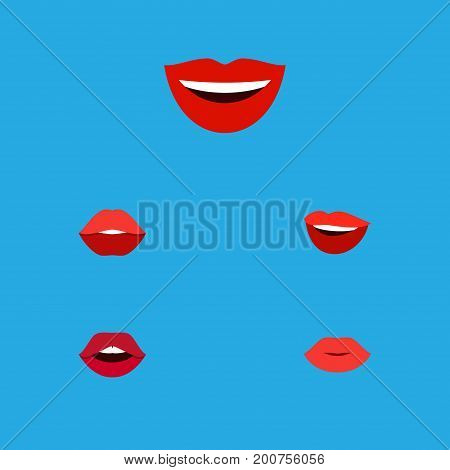 Flat Icon Mouth Set Of Mouth, Laugh, Smile And Other Vector Objects