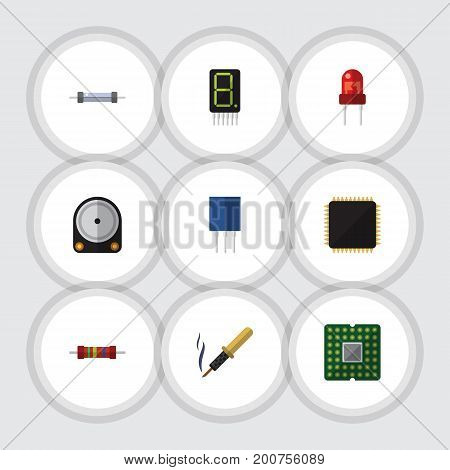 Flat Icon Appliance Set Of Hdd, Unit, Resistance And Other Vector Objects