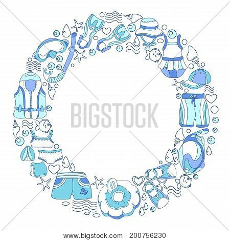 Template with swimming goods for kids in circle on white background. Vector color illustration. Vest mask tube swimsuit swimming trunks. Summer holiday. Set isolated and grouped for easy editing