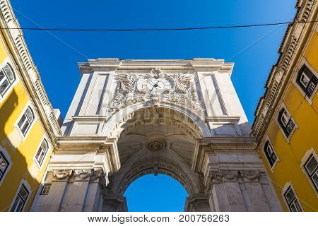 Arco Da Rua Augusta Architecture Monument Historic Landmark City Center Of Lisbon Portugal