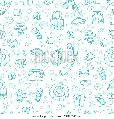 Seamless pattern of swimming goods for children on white background. Vector. Art line Illustration. Set. Vest mask tube swimsuit cap panama fins swimming trunks. Summer kid's holiday