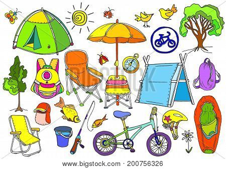 Set with children's trekking in the forest fishing picnic. Doodle vector isolated and grouped for easy editing. Tent backpack bike chair umbrella rod sleeping bag compass. Colorful summer