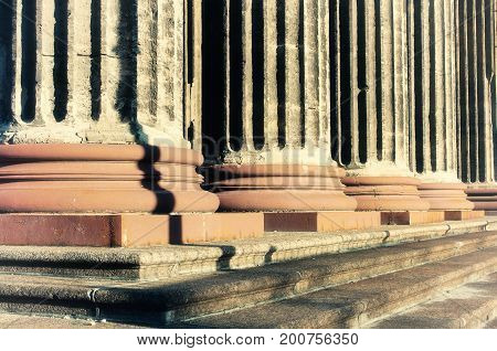 Architecture background of Kazan Cathedral colonnade in St Petersburg Russia - architecture details of St Petersburg Russia landmark in sunset light. St Petersburg Russia architecture background. Architecture view in soft tones
