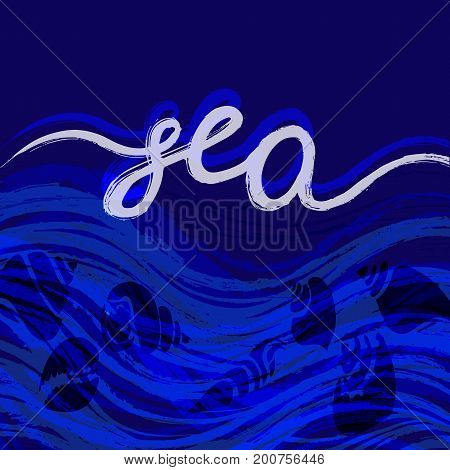 Template of seashells. Lettering. Shell conch spiral helix. Undersea world. Vector shape illustration for design greeting card background t-shirt poster web design print