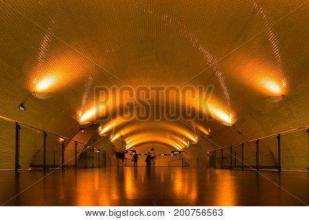 Baixa Chiado Underground Train Station Lisbon Portugal Corridor Architecture Perspective