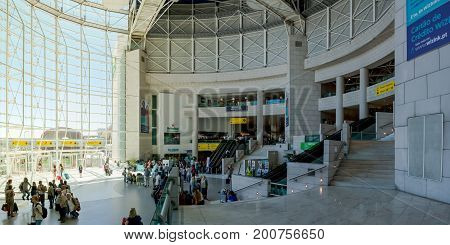 Beautiful Indoor Daytime Shot Of Lisbon Airport Front Window On Bright Summer Day August 2017