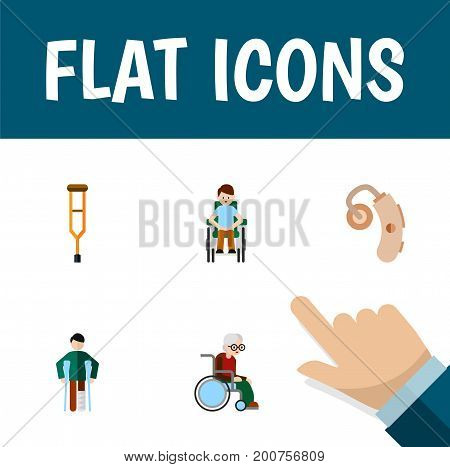 Flat Icon Cripple Set Of Disabled Person, Stand, Audiology Vector Objects