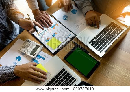 Business Team  Man And Woman Work  On Wood Table With Tablet Screen Clipping Path