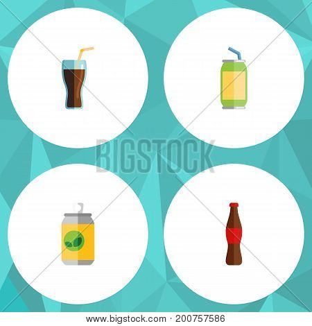 Flat Icon Beverage Set Of Juice, Beverage, Fizzy Drink And Other Vector Objects