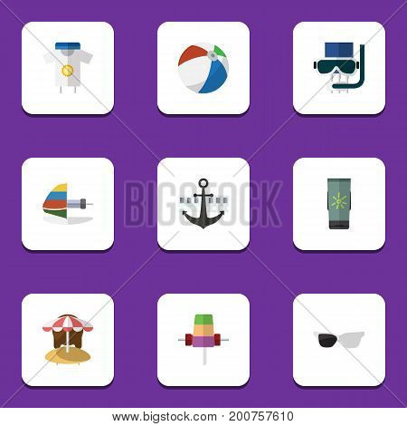 Flat Icon Summer Set Of Sundae, Scuba Diving, Moisturizer And Other Vector Objects