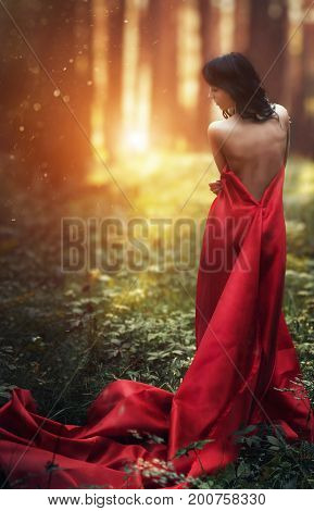 Woman in a long red dress alone in the forest. Fabulous and mysterious image of a girl in a dark forest in the evening sun. Sunset in the forest the Princess got lost