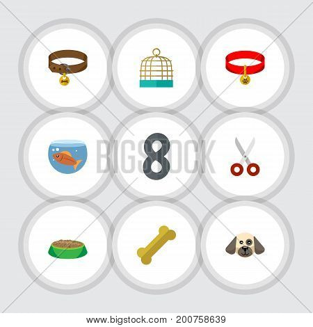 Flat Icon Animal Set Of Fishbowl, Shears, Kitty Collar And Other Vector Objects